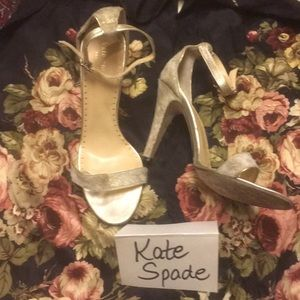 Fabulous KATE SPADE gold cowhide princess heels 8M